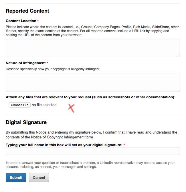 Linkedin Takedown Process Artistic License